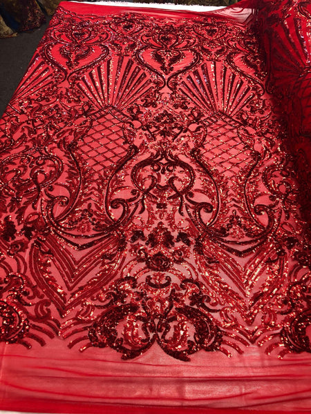 Red Royalty 4 Way Stretch Fabric - Sequins Fabric Embroidered Power Mesh Dress Top Fashion Prom Wedding Bridal By The Yard