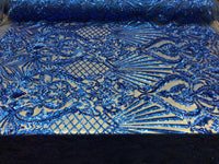 Royalty 4 Way Stretch Fabric - Sequins Fabric Royal Blue Embroidered Power Mesh Dress Top Fashion Prom Wedding Bridal By The Yard