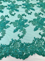 Teal 3D Floral-Flower Design Embroider With Crystal Sequins And Hand Beaded, With On A Mesh Lace-Dresses-Bridal-Nightgown By The Yard