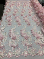 PINK Lace Fabric 3D Floral Lace Fabric Corded Floral 3D Lace embroidery On Mesh Fabric Costume Prom Wedding Dress Gown By The Yard