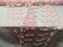 Load image into Gallery viewer, PINK Lace Fabric 3D Floral Lace Fabric Corded Floral 3D Lace embroidery On Mesh Fabric Costume Prom Wedding Dress Gown By The Yard