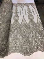 Lace Fabric Designs SILVER Heavy Beaded Fabric Embroidered Beads With Sequins Mesh Lace For Bridal Veil/Wedding/Prom/Dress/Decorations By The Yard