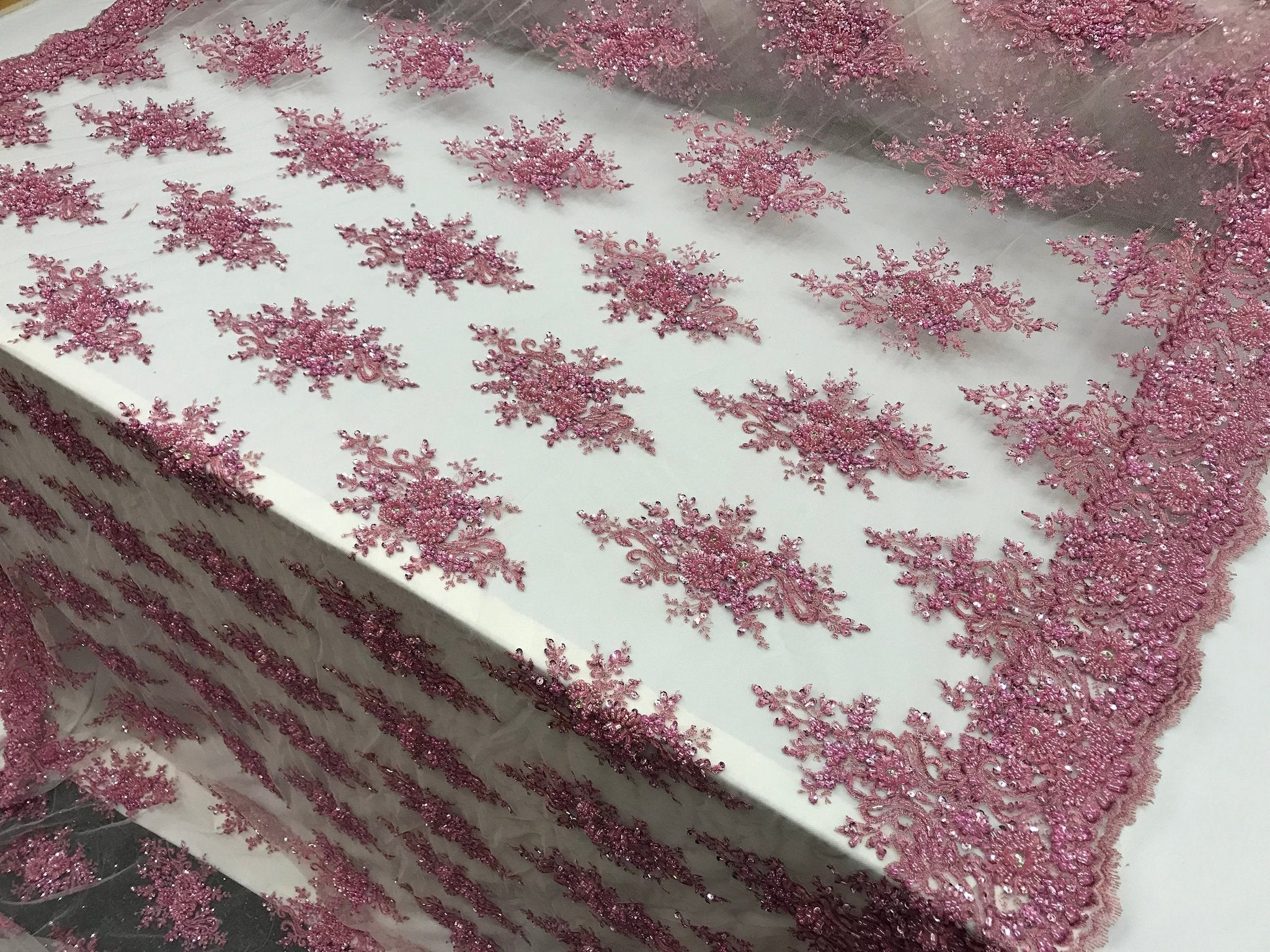 Pink Beaded French Embroidered Handmade Mesh Lace Floral Fabric By the Yard.