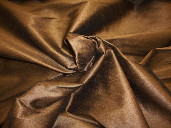 "Shantung Dupioni Faux Silk Fabric , sold by Yard, 58"" wide. Brown"