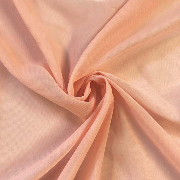 Peach Chiffon Fabric Polyester Sheer 58'' Wide By the Yard for Garments, Decoration, Crafts special occasions, bridesmaid dresses and more.