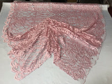 Load image into Gallery viewer, WEDDING LACE PINK DAMASK DESIGN EMBROIDER WITH PEARLS ON A MESH-SOLD BY YARD