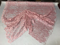 WEDDING LACE PINK DAMASK DESIGN EMBROIDER WITH PEARLS ON A MESH-SOLD BY YARD