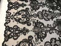 Black French Corded Design embroider With Sequins On A Mesh Lace Fabric-ByYard