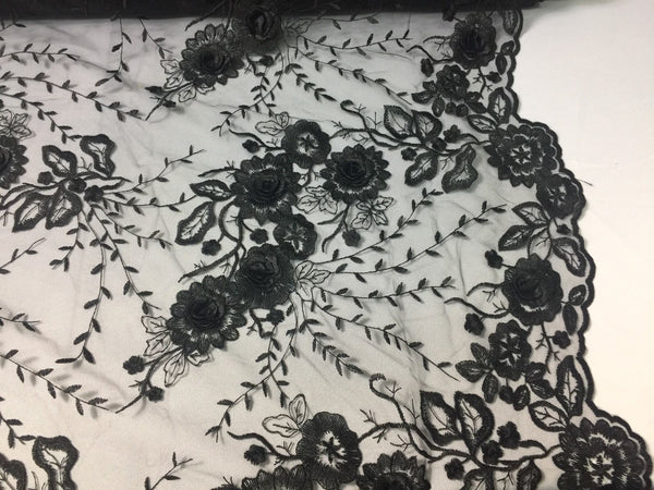 Flower Embroidered - 3D Flower Bridal Veil-Wedding Decorations Black By The Yard