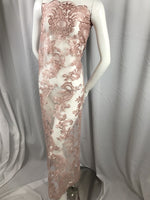 Lace fabric By The Yard Dusty Rose Flower Mesh Dress Embroidered Bridal Wedding