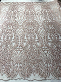 WEDDING LACE ROSE DAMASK DESIGN EMBROIDER WITH PEARLS ON A MESH-SOLD BY YARD