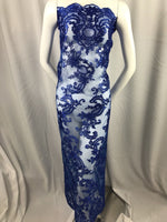 Lace fabric By The Yard Royal Blue Flower Mesh Dress Embroidered Bridal Wedding