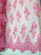 Load image into Gallery viewer, Jerusalem's Beautiful Candy Pink hand beaded flowers on a mesh-Prom-nightgown-by the yard.
