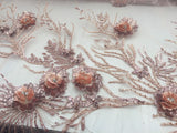 Supernatural Luxurious 3d Flower Beaded Mesh Lace Fabric Blush. 1 Yard