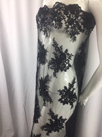 Beaded fabric By The Yard For Bridal Wedding Dress Mesh Lace With Sequins Black