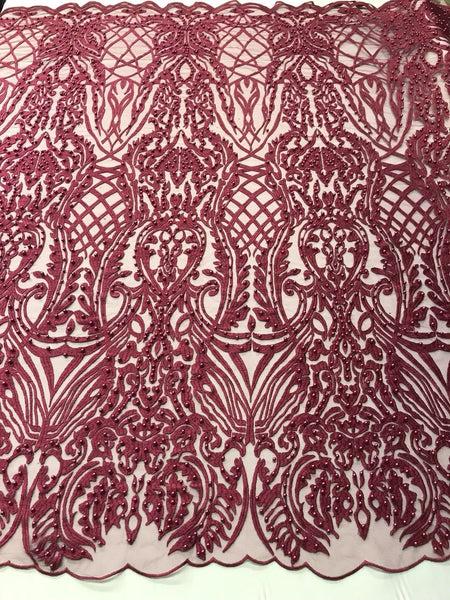 WEDDING LACE BURGUNDY DAMASK DESIGN EMBROIDER WITH PEARLS ON MESH-SOLD BY YARD.