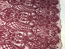 Load image into Gallery viewer, WEDDING LACE BURGUNDY DAMASK DESIGN EMBROIDER WITH PEARLS ON MESH-SOLD BY YARD.