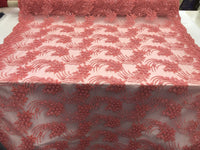Coral Design Embroider Mesh Whit Beaded And Squins Lace Fabric - By The Yard