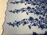 Embroidered Lace R- Blue Mesh Fabric 3D Flower-Floral Wedding Dress By The Yard