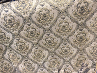 Chenille upholstery Drapery Damask Taupe Gold Print furniture fabric sold BTY