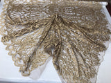 WEDDING LACE DK GOLD DAMASK DESIGN EMBROIDER WITH PEARLS ON A MESH-SOLD BY YARD