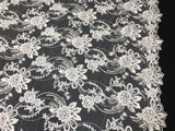 BRIDAL IVORY BLUE HAND BEADED FLORAL DESIGN EMBROIDER ON MESH LACE-SOLD BY YARD