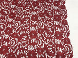 BURGUNDY FLORAL EMBROIDERY GUIPURE LACE FABRIC FRENCH BRIDAL VEIL BY THE YARD