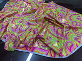 Fashion Desings Nylon Spandex Fabric Multicolor Paysley By Yard Neon Green