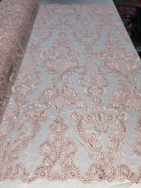 Pink French Corded Design Embroider With Sequins On A Mesh Lace Fabric-By Yard