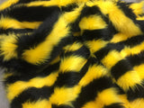 FAUX FAKE FUR 2 TWO TONE STRIPED LONG PILE FABRIC - Black/Yellow - BY THE YARD