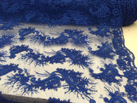 Beaded Royal Blue Mesh Lace Fabric Luxurious Design With Pearls By Yard