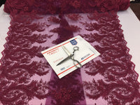 Mesh Lace Fabric Maggy Burgundy Design Embroider And Beads Sequins-by the yard.