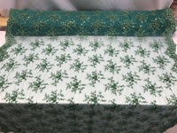 Jerusalem's Best Emerald Green Mesh / Embroidery Beaded Lace & Sequins Fabric - Sold By The Yard
