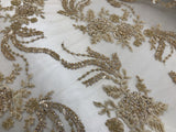 Jerusalem's Luxurious Gold Mesh / Embroidery Beaded Lace & Sequins Fabric - Sold By The Yard