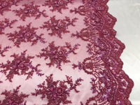 Jerusalem's Lace Fabric - Embroidered Beaded Mesh Floral Fuchsia Bridal Wedding By The Yard