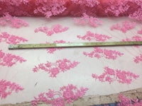 Jerusalem's Beautiful Candy Pink hand beaded flowers on a mesh-Prom-nightgown-by the yard.