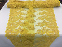 Beaded fabric - Embroidered Lace Yellow For Bridal Veil By The Yard