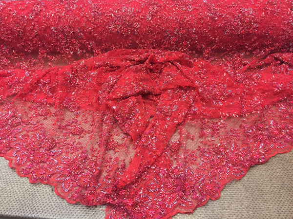 Super Heavy Beaded Mesh Lace Fabric Multi Color Flower Red. Sold By Yard