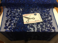 Sequins Fabric - Embroidered Mesh Lace Sequin Shiny Royal Blue-Black By The Yard