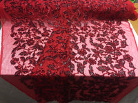 Sequins Fabric - Embroidered Mesh Lace Sequin Shiny Royal Red-Black By The Yard