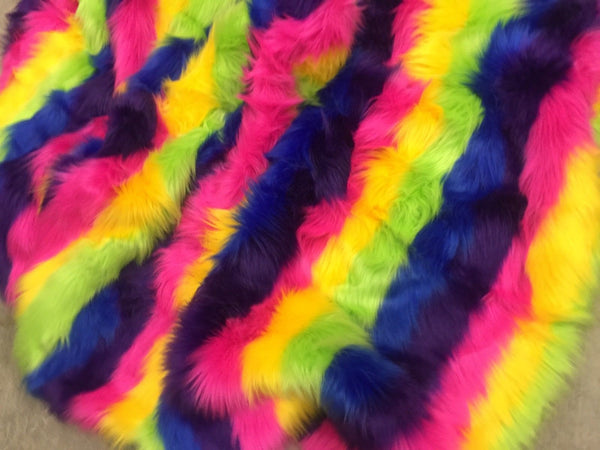 RAINBOW STRIPED FAUX FUR - Rainbow 1 - BY THE YARD DIY COSTUME ACCESSORIES