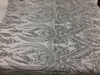 2 way stretch fabric Embroidered Mesh sequins bridal lace fashion Silver White- by the yard