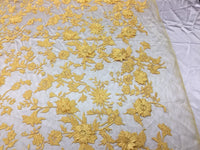 Flower Fabric - Mesh Net Type Spider 3D Flowers Yellow For Dress By The Yard