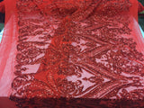 2 way stretch fabric Embroidered Mesh sequins bridal lace fashion Red - by the yard