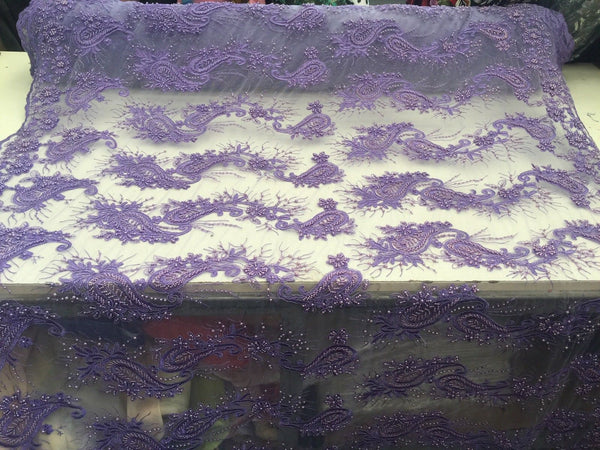 Beaded Lavender Mesh Lace Fabric Luxurious Design With Pearls By Yard