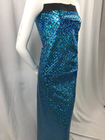 Mermaid Fabric Fish Tail Scale Sparkle Hologram Spandex Blue By The Yard