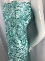 Aqua Guipure Lace - Mesh Dress Top-Trim Bridal Wedding Decorations By The Yard