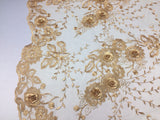 Flower Embroidered - 3D Flower Bridal Veil-Wedding Decorations Gold By The Yard