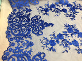 R-Blue Embroidered Lace Fabric On A 2 Way Stretch - Wedding Dress - By The Yard