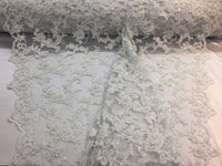 New Queens Design Beaded Mesh Lace Fabric Bridal Wedding White. Sold By Yard